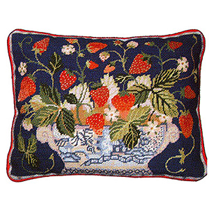Primavera Needlepoint Cushion Kit - Blue Strawberry Fair