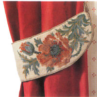 Primavera Needlepoint Curtain Tie-Back Kit - Green Indian Poppies (Pair)