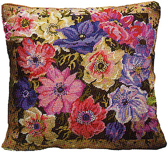 Primavera Needlepoint Cushion Kit - Anemone Garden