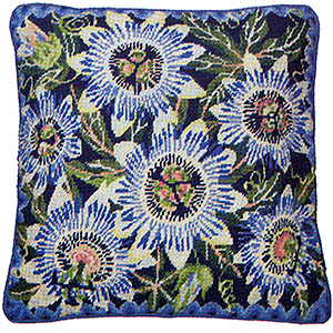 Primavera Needlepoint Cushion Kit - Blue Passion Flowers