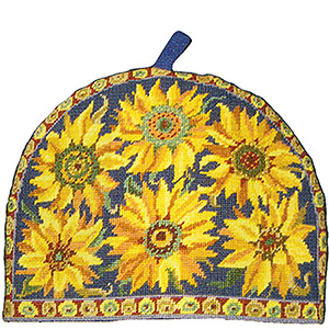 Primavera Needlepoint Teacosy Kit - Blue Sunflower
