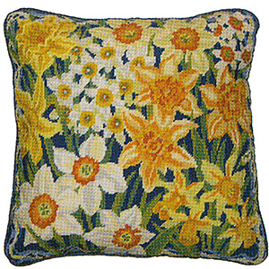 Primavera Needlepoint Cushion Kit - Narcissi & Daffodils
