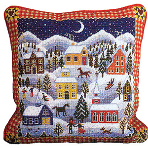 Primavera Needlepoint Cushion Kit - Winter Village