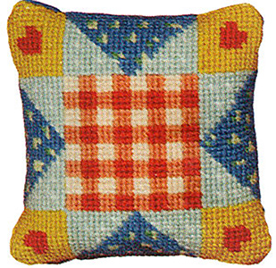 Primavera Needlepoint Pincushion Kit - Patchwork Hearts