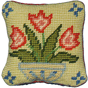 Primavera Needlepoint Pincushion Kit - Vase of Tulips