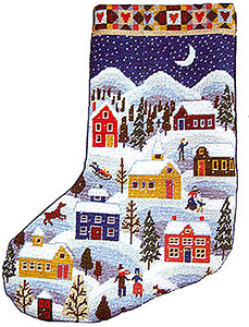 Primavera Needlepoint Christmas Stocking Kit - Shaker Winter Stocking