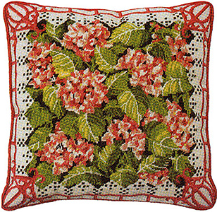 Primavera Needlepoint Cushion Kit - Pink Hydrangea