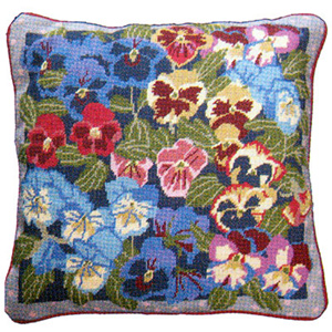 Primavera Needlepoint Cushion Kit - Winter Pansies