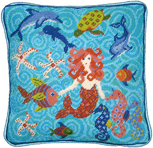 Primavera Needlepoint Cushion Kit - Seascape