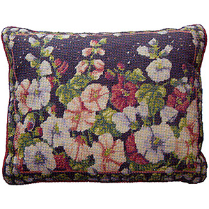 Primavera Needlepoint Cushion Kit - Hollyhocks