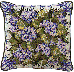 Primavera Needlepoint Cushion Kit - Blue Hydrangeas