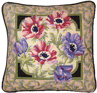 Primavera Needlepoint Cushion Kit - Anemones