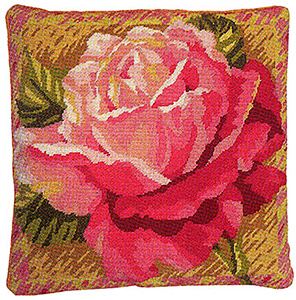 Primavera Needlepoint Cushion Kit - Single Rose