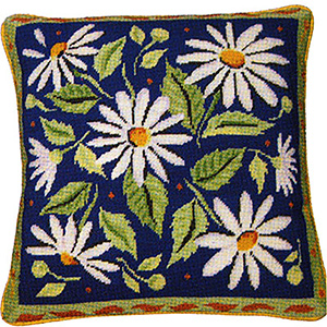 Primavera Needlepoint Cushion Kit - Blue Daisies