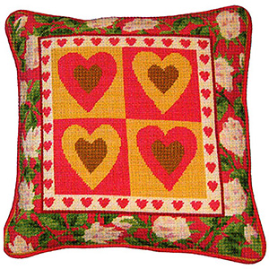 Primavera Needlepoint Cushion Kit - Hearts