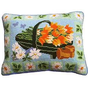 Primavera Needlepoint Cushion Kit - Garden Trug