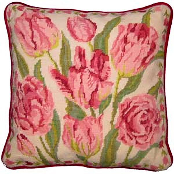 Primavera Needlepoint Cushion Kit - Cream China Tulips
