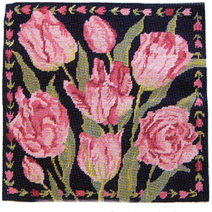 Primavera Needlepoint Cushion Kit - Navy China Tulips