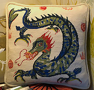 The Dragon Needlepoint Cushion Kit from The Purple Tree Collection
