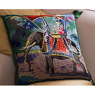 Indian Elephant Needlepoint Cushion Kit from The Purple Tree Collection