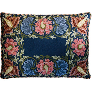 Beth Russell Needlepoint - Flower Border Collection - Flower Border Pillow/Firescreen - Blue Background - Kit