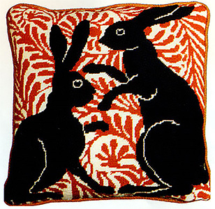 Fine Cell Work Needlepoint - Black Boxing Hares
