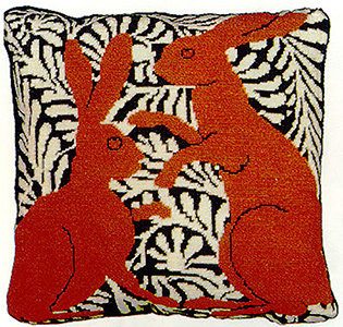 Fine Cell Work Needlepoint - Brown Boxing Hares