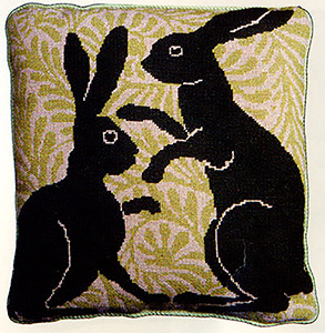 Fine Cell Work Needlepoint - Green Boxing Hares