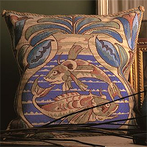 Glorafilia Needlepoint - William de Morgan Fish Cushion Kit