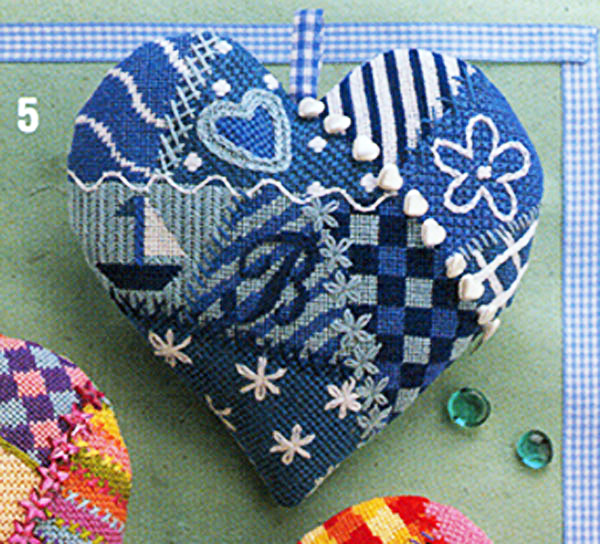 Glorafilia Needlepoint - Specialty - Heart Cushions - Blue & White Heart Kit