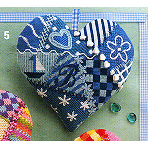 Glorafilia - Specialty - Heart Cushions - Blue & White Heart Kit