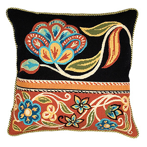 Glorafilia Needlepoint - Cushions & Pillows - Persian Flowers In Black And Red Cushion Kit