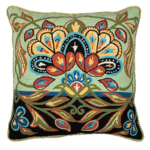 Glorafilia Needlepoint - Persian Flowers In Black And Green Cushion Kit