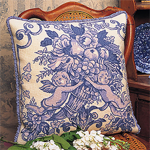 Glorafilia Needlepoint - Toile de Jouy (Fabric of Jouy) Blue Cushion Kit