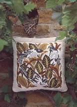 Beth Russell Needlepoint - de Morgan Magpies - Magpies Pillow/Picture - Green Leaves - Kit