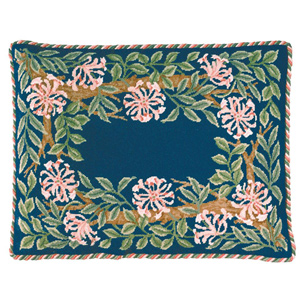 Beth Russell Needlepoint - Honeysuckle Border Collection - Honeysuckle Border Pillow/Firescreen - Indigo Blue Background - Kit