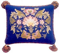 Beth Russell Needlepoint - Lodden Collection - Lodden 2 Pillow/Chairseat - Blue Background - Kit