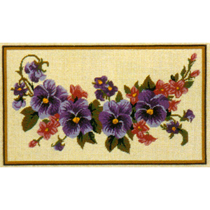 Pansey Garland - Anchor Needlepoint Cushion Kit