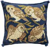 Beth Russell Needlepoint - de Morgan Animals Collection - Owls Cushion - Kit