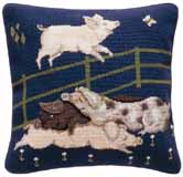 Beth Russell Needlepoint - de Morgan Animals Collection - Pigs Cushion - Kit