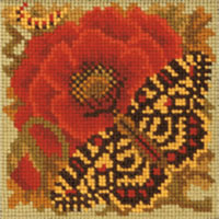 Elizabeth Bradley Needlepoint - Miniatures - Poppy & Butterfly Miniature Kit