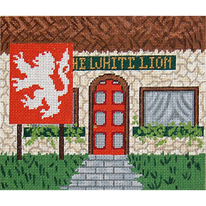Pub 05 - The White Lion - Hand-Painted Needlepoint Canvas