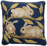Beth Russell Needlepoint - de Morgan Animals Collection - Rabbits Cushion - Kit