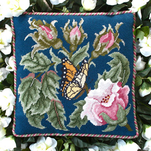 Beth Russell Needlepoint - Rose Garden Collection - Rose Garden Butterfly - Blue - Kit