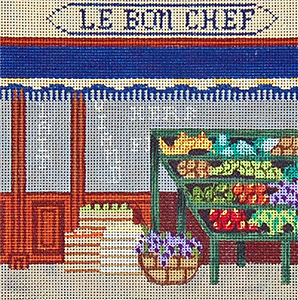 Grocery Store - Hand-Painted Needlepoint Canvas