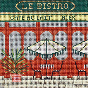 Bistro - Hand-Painted Needlepoint Canvas