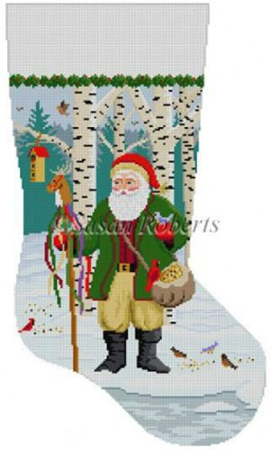 Susan Roberts Needlepoint Designs - Hand-painted Christmas Stocking - Santa Feeding the Birds
