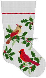 Susan Roberts Needlepoint Designs - Hand-painted Christmas Stocking - Cardinals In Holly