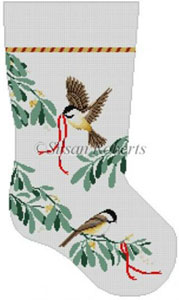 Susan Roberts Needlepoint Designs - Hand-painted Christmas Stocking - Chickadees