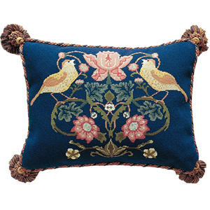 Beth Russell Needlepoint - Strawberry Thief Collection - Strawberry Thief 1 Pillow/Chairseat - Kit